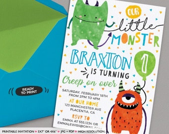 Little Monster Birthday Invitations DIY Printable Invite Monsters Party Invitation Watercolors