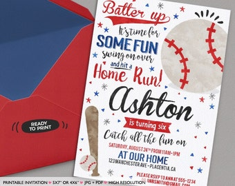 Baseball Birthday Party invitations Baseball Birthday invitations Printable Watercolors birthday invitations Baseball Invite