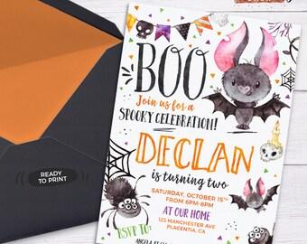Watercolor invite etsy halloween birthday invitation halloween invitation for kids fall birthday invitation spooky celebration cute halloween watercolors invite stopboris Images