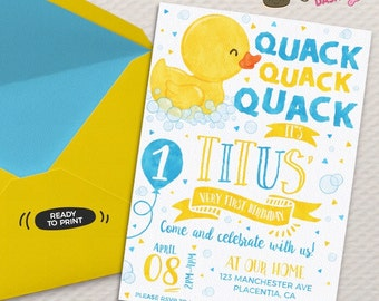 Duck invitation etsy rubber ducky birthday invitation yellow rubber duck birthday invitation printable blue yellow duck party invitations watercolors duck invite stopboris Image collections