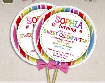Lollipop invitation etsy sweet shop candyland birthday party diy lollipop invitations sweet shoppe diy printable lollipop invite filmwisefo