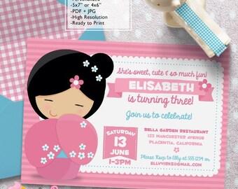 Japanese invitations etsy kokeshi doll birthday party invitations diy japanese doll printable girls birthday invite stopboris Images