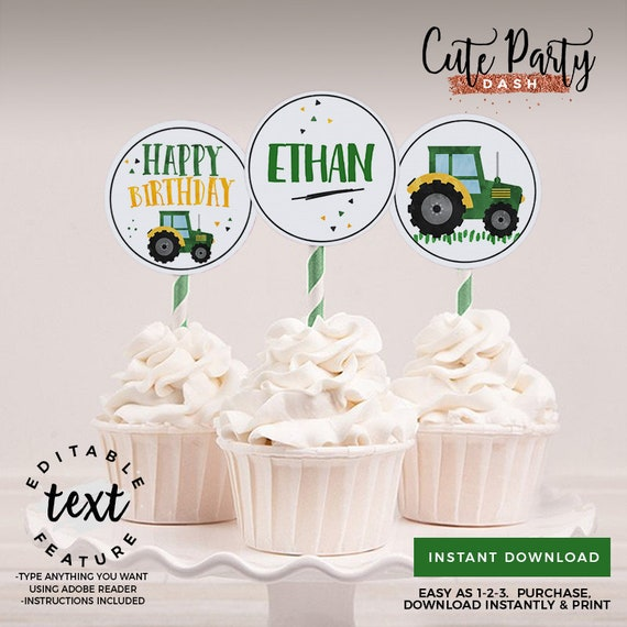 INSTANT DOWNLOAD EDITABLE Tractor Birthday Cupcake Toppers