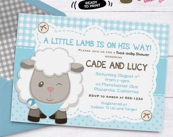 Boys Little Lamb Baby Shower invitation boys Sheep Baby Shower Invitation printable couples co-ed baby shower invitation baby blue sheep