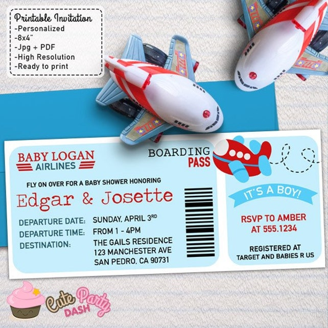 Airplane baby shower boarding pass ticket invitations diy etsy image 0 filmwisefo