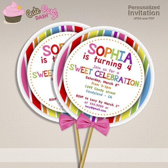 Sweet shop candyland birthday party diy lollipop invitations etsy image 0 filmwisefo