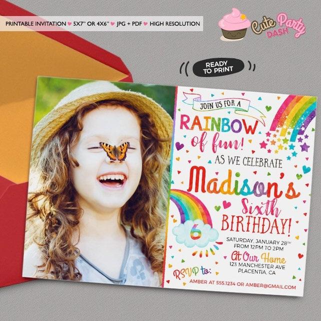 Colorful Rainbow Birthday Party Invitations DIY Printable Invite Invitation Watercolors