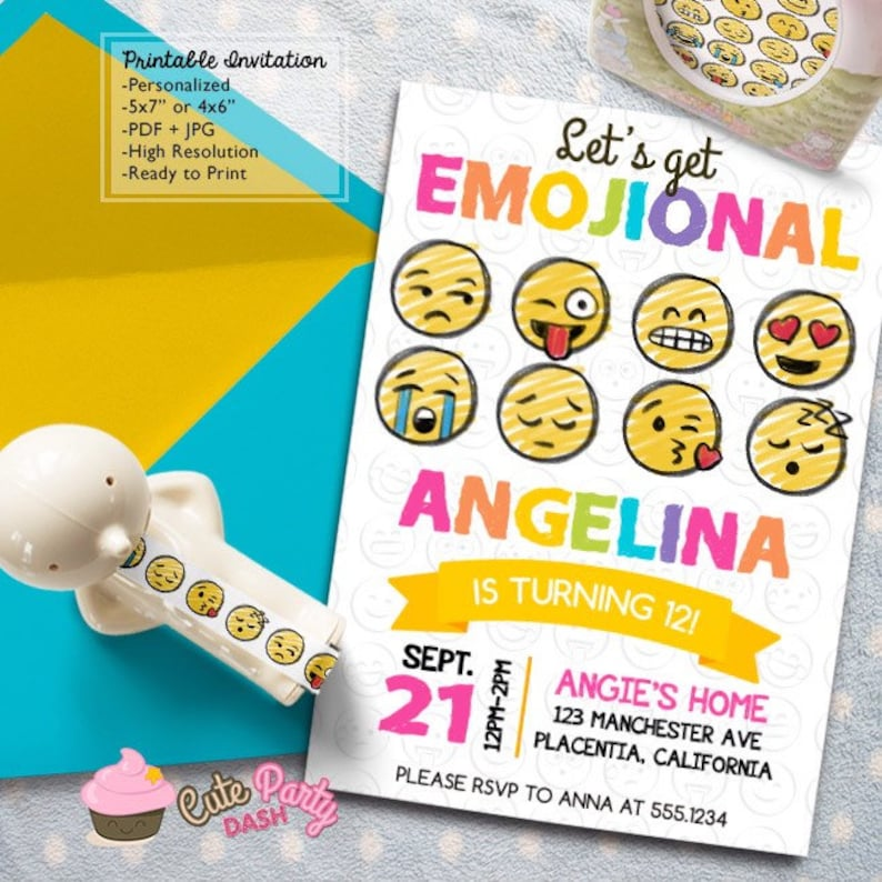 Emoji Birthday Party Invitations DIY Smiley Faces