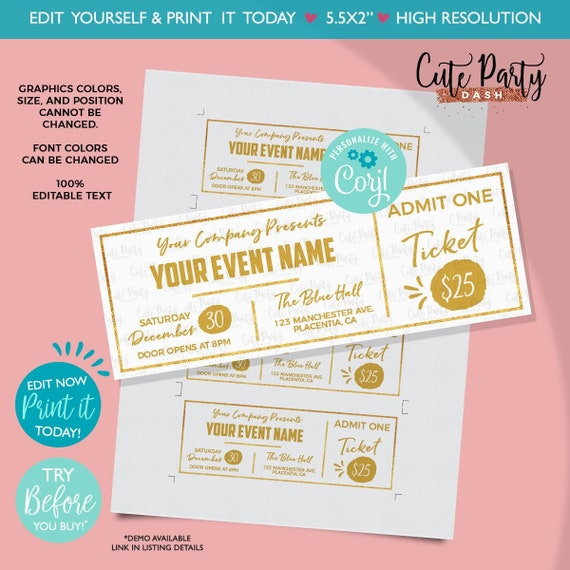 picture regarding Printable Golden Tickets called Instantaneous Down load - EDITABLE Party Golden Ticket Printable Function Ticket Gold Ticket Template Printable Celebration Phony P corjl template ticket