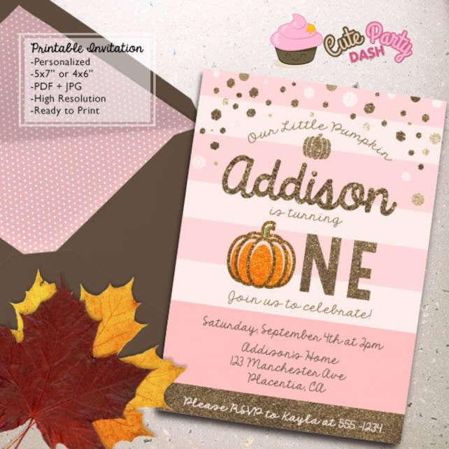 Pink And Gold Little Pumpkin Birthday Party Invitations First Invitation DIY Printable Invite