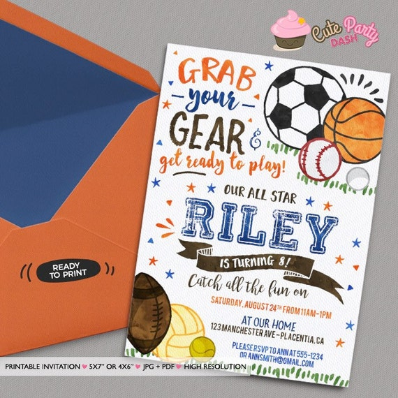 Sports Birthday Party Invitations Sports Birthday Invitations Etsy