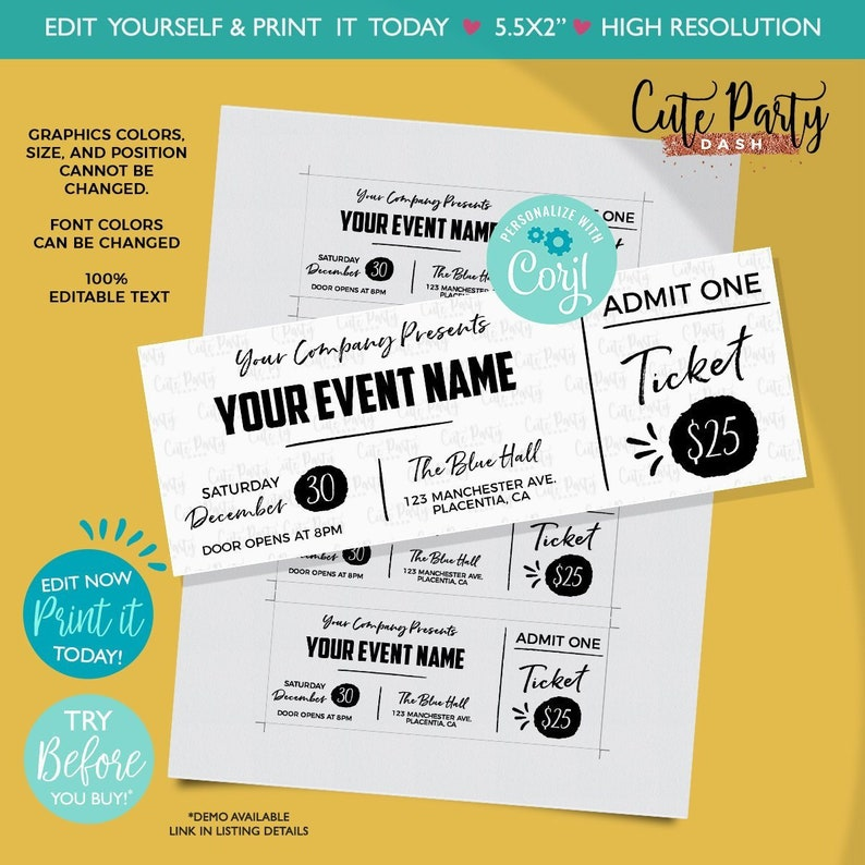 picture regarding Printable Event Tickets identify Immediate Obtain - EDITABLE Function Ticket Printable Occasion Tickets Function Ticket Template Printable Party Bogus P corjl template ticket