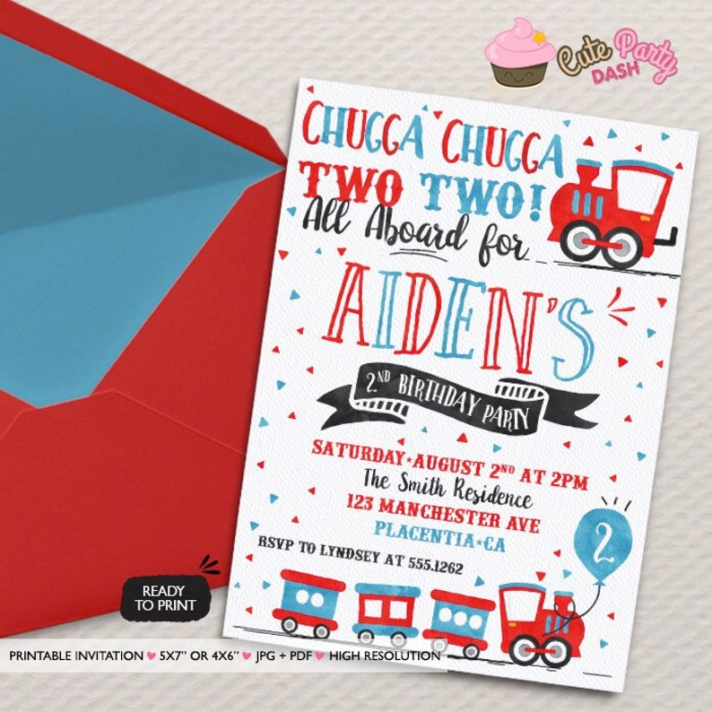 Chugga Choo Train Birthday Party Invitations Two