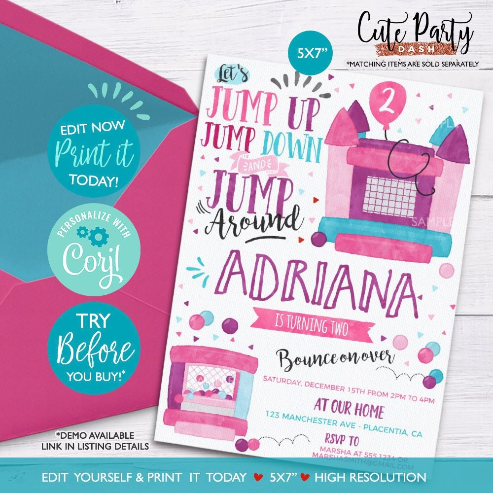 INSTANT DOWNLOAD EDITABLE Girl Bounce House Birthday Party