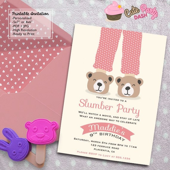 Sleepover Birthday Party Invitations Diy Slumber Party Etsy