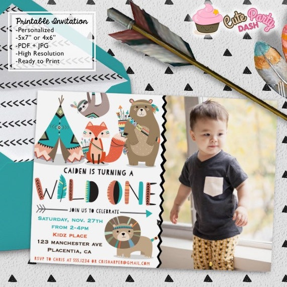 Wild One First Birthday Party Photo Invitations DIY Tribal