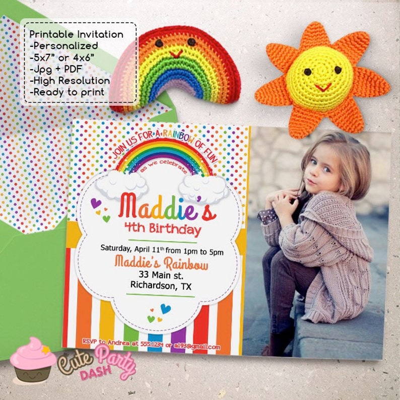 Colorful Rainbow Birthday Party Photo Invitations DIY