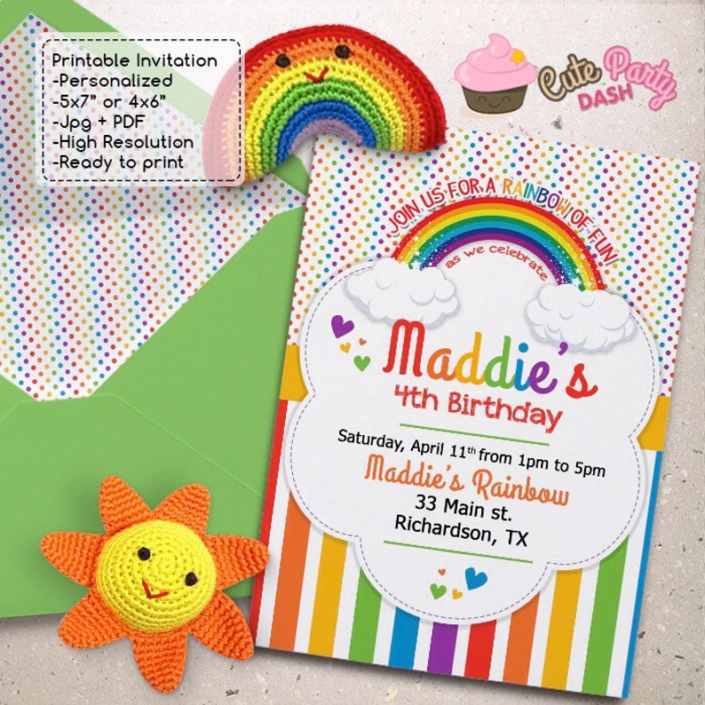 Colorful Rainbow Birthday Party Invitations DIY