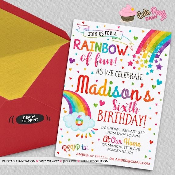 Kolorowe Zaproszenia Urodzinowe Rainbow Diy Rainbow Nadający Etsy