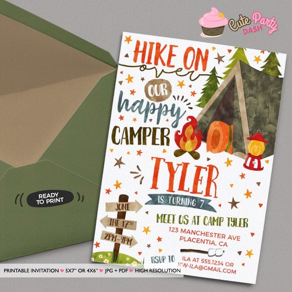 Camping birthday invitation diy camp out printable invite etsy filmwisefo