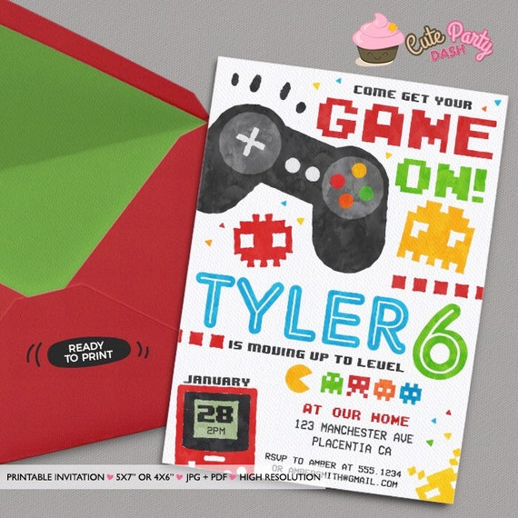 Video game party invitations video game birthday invitations etsy image 0 filmwisefo