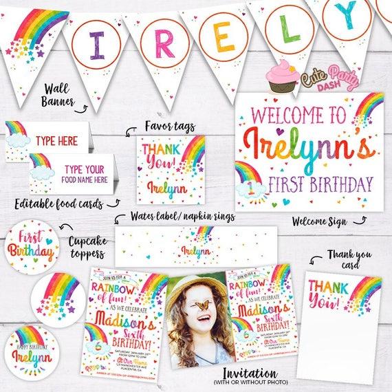 Colorful Rainbow Birthday Party Decorations DIY