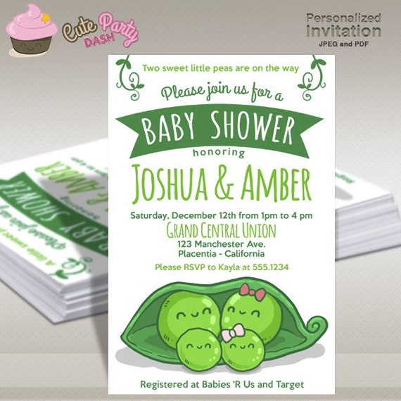 Two peas in a pod baby shower invitations sweet peas twins diy etsy image 0 filmwisefo