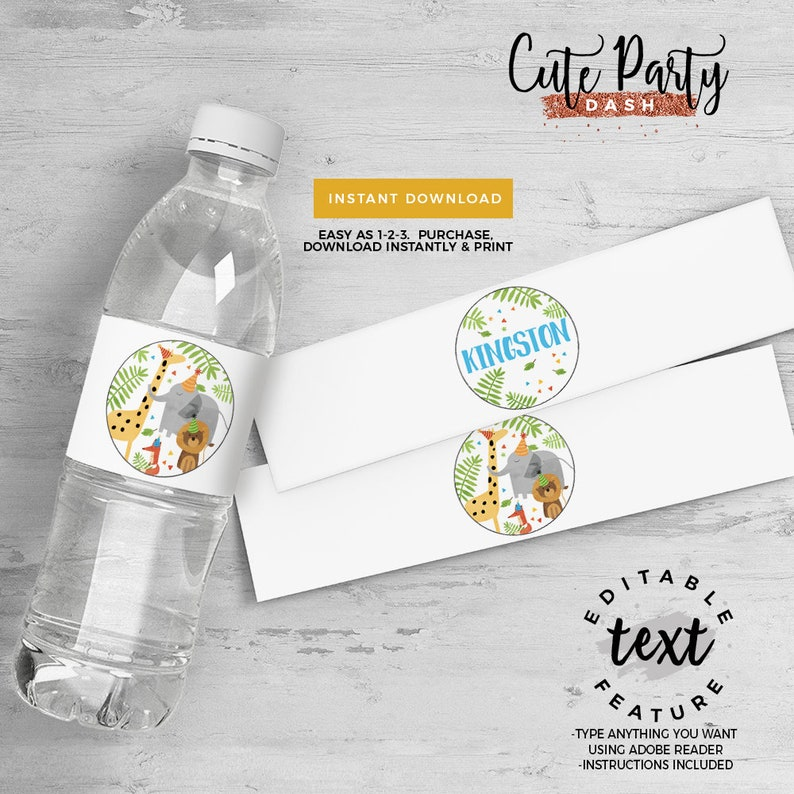 INSTANT DOWNLOAD Party Animals Birthday Favor tag Zoo favors jungle birthday 2.5 Favor tags Animals party decorations wild fun time Pa-bi