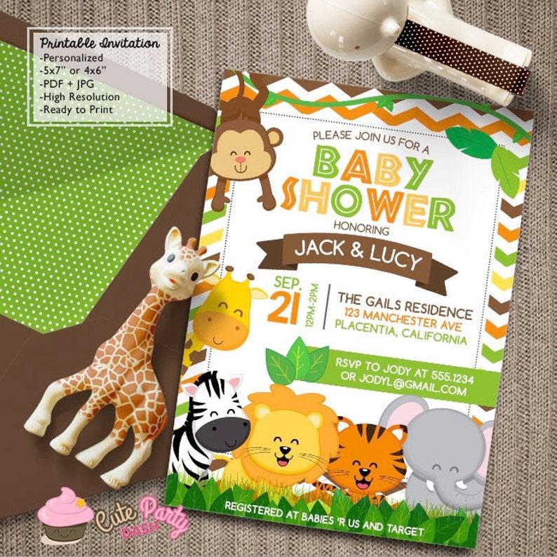 Safari Baby Shower Invitations Jungle Animals Diy Printable Etsy