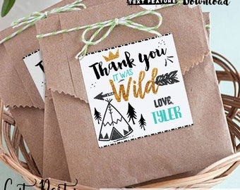 INSTANT DOWNLOAD - EDITABLE Wild one Favor Tag Teal Black and Gold Wild one Birthday Favor tags - Party decorations King of all wild things