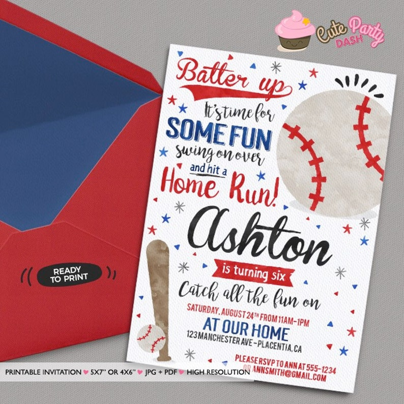 Baseball Birthday Party Invitations Printable Watercolors Invite