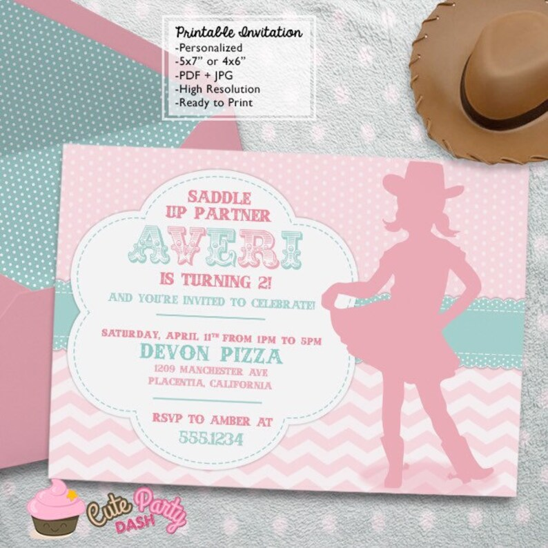 ecf30a68c61bf Little Cowgirl Rodeo Birthday Party invitations DIY farm