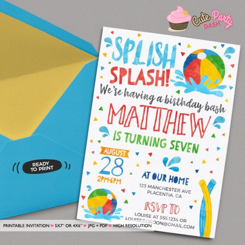 Pool Party Invitation Printable Birthday Decorations Beach Ball Summer Poo01