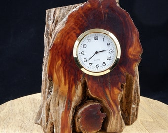 Quartz Clock Mounted in a Piece of Very Old Cedar Root  FREE SHIPPING