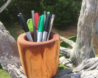 Hand turned aromatic cedar desk pen/pencil holder FREE SHIPPING