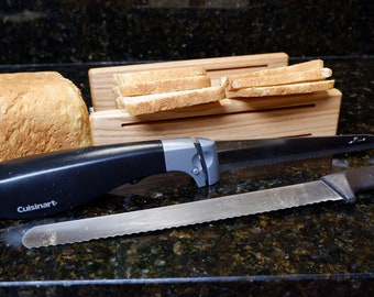 """5 1/2"""" Wide Oak """"Original"""" Two Thickness Horizontal Bread Slicing Guide with Anti Slip Mat Protective Oil Finish Applied     FREE SHIPPING"""