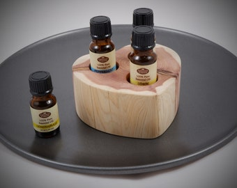 Essential Oil Holder Display Stand in its Natural State No Finish Applied (3 Bottles) FREE SHIPPING