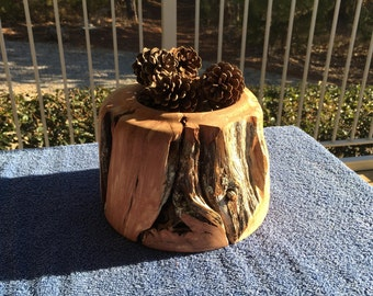 Hand Turend Aromatic Cedar Holder with Pine Cones (Heavy and Very Rustic) FREE SHIPPING