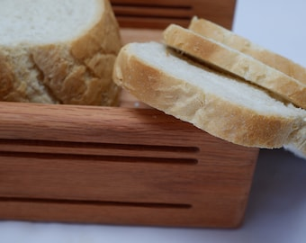 """5/16+1/2+3/4"""" Slice Thickness   5 1/2"""" Loaf Width   Oak Horizontal Bread Slicing Guide   Anti Slip Mat Protective  Oil Finish  FREE SHIPPING"""
