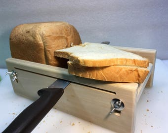 "Horizontal Adjustable Bread Slicing Guide Made of Solid 3/4"" Poplar Lumber (No Finish) Includes Anti Slip Mat"