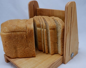 """Adjustable 1/8 to 1"""" Slice Thickness 8"""" Loaf Width Vertical Bread Slicing Guide Anti Slip Mat Protective Oil Finish FREE SHIPPING"""