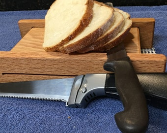 Basic Plus Two Thicknesses Oak Horizontal Bread Slicing Guide.  Includes Anti slip Mat