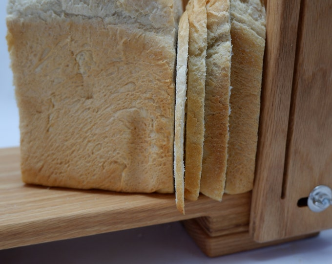 """Featured listing image: Loaf Width 5 1/2"""" Adjustable Slice Thickness 1/8"""" to 1"""" Horizontal/Vertical Oak Bread Slicing Guide  Anti Slip Mat  Oil Finish FREE SHIPPING"""