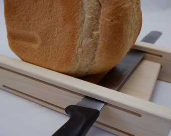 """Loaf Width 5 1/2 Inch  Slice Thickness 1/2"""" + 3/4""""   Poplar Horizontal Bread Slicing Guide  With Anti Slip Mat  (Unfinished)  FREE SHIPPING"""