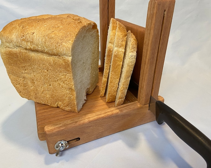 """Featured listing image: Adjustable 1/8 to 1 1/2"""" Slice Thickness 7"""" Loaf Width Oak Vertical Bread Slicing Guide Anti Slip Mat Protective Oil Finish FREE SHIPPING"""
