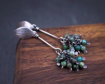 Sterling Silver Ear Post Earrings - African Turquoise Cluster Earrings - 925 Oxidized Silver Earrings - Green Turquoise Boho Earrings - odki