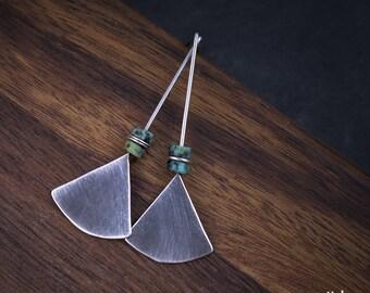 Sterling Silver Triangle Earrings - African Turquoise Earrings - 925 Silver Earrings - Oxidized Silver Geometric Modern Earrings - odki