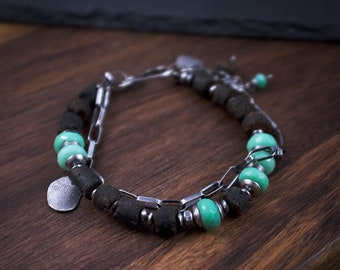 Raw Baltic Amber and Chrysoprase Bracelet - Oxidized Silver Bracelet - Modern Tribal Bracelet - Handmade 925 Bracelet for Women - odki