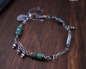 Raw Turquoise Bracelet - Oxidized Sterling Silver Women Bracelet - 925 Silver Charm Bracelet - Stone and Chain Bracelet - Handmade - odki