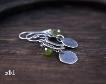 Raw Sterling Silver Earrings with Olive Green Vesuvianite Faceted Stone - Rustic Boho Cluster Earrings - Oxidized 925 Silver Earrings - odki